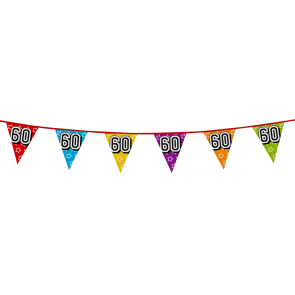 Bunting 'holographic' 8m '60' - size flags: 20x30cm