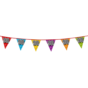 Bunting 'holographic' 8m '90' - size flags: 20x30cm