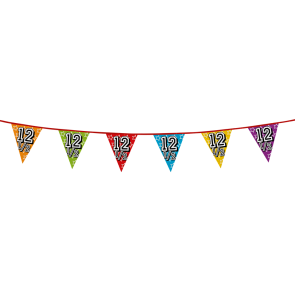 Bunting 'holographic' 8m '12 1/2' - size flags: 20x30cm