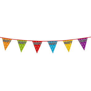 Bunting 'holographic' 8m 'Party' - size flags: 20x30cm