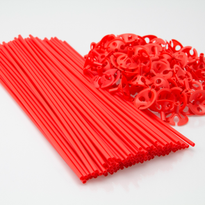 100 Balloon sticks , 40cm - red