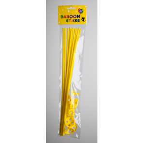 10 Balloon sticks , 40cm - yellow