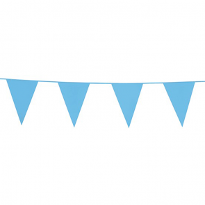 Bunting PE 10m.  baby blue - size flags: 20x30cm
