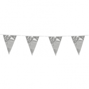 Bunting 10m. silver metallic - size flags: 20x30cm
