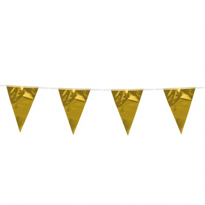 Bunting 10m. gold metallic - size flags: 20x30cm