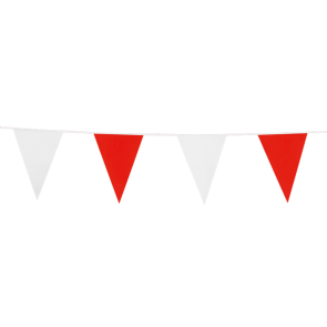 Bunting PE 10m.  red & white - size flags: 20x30cm