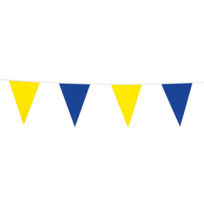 Bunting PE 10m.  blue & yellow - size flags: 20x30cm