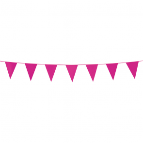 Bunting PE 3m.  hot pink - size flags:10x15cm