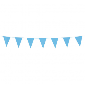 Bunting PE 3m.  baby blue - size flags:10x15cm