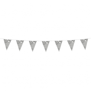 Bunting 3m. silver metallic - size flags:10x15cm