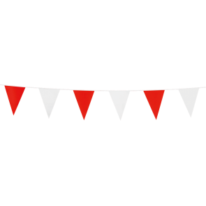 Bunting PE 3m.  red & white - size flags:10x15cm