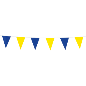 Bunting PE 3m.  blue & yellow - size flags:10x15cm