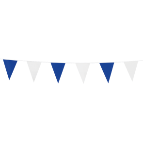 Bunting PE 3m.  blue & white - size flags:10x15cm
