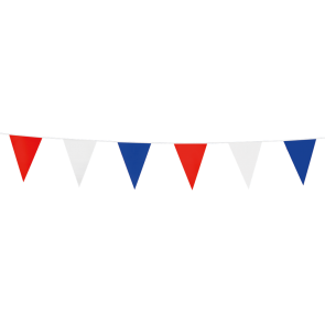 Bunting PE 3m.  red - white - blue - size flags:10x15cm