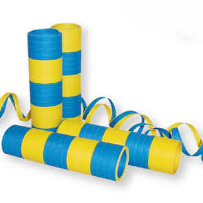 Streamers 20x 4m Flameproof - yellow/blue