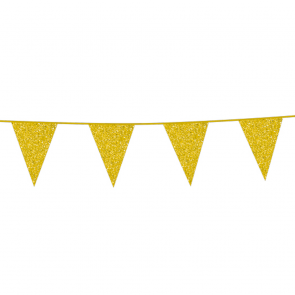 Bunting Glitter 6m. gold - size flags 20x30cm