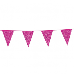 Bunting Glitter 6m. hot pink - size flags 20x30cm