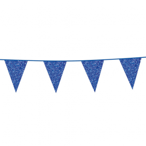 Bunting Glitter 6m. blue - size flags 20x30cm
