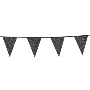 Bunting Glitter 6m. black - size flags 20x30cm