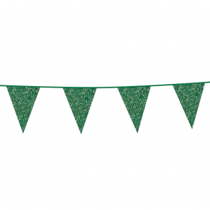 Bunting Glitter 6m. green - size flags 20x30cm