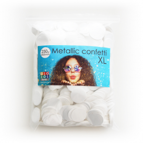 Confetti metallic round 23mm - 250 gram - white