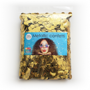 Confetti metallic round 10mm - 250 gram - gold