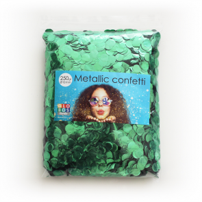 Confetti metallic round 10mm - 250 gram - green