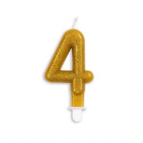Number candle glitter, gold - nr. 4