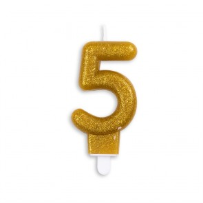 Number candle glitter, gold - nr. 5