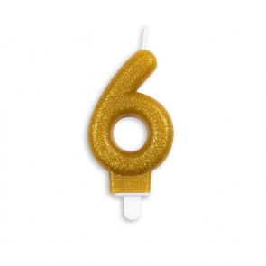 Number candle glitter, gold - nr. 6