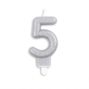 Number candle glitter, silver - nr. 5