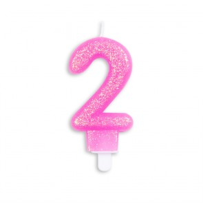 Number candle glitter, pink - nr. 2