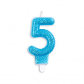 Number candle glitter, blue - nr. 5