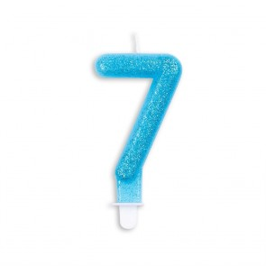 Number candle glitter, blue - nr. 7