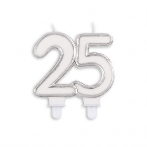 Number candle silver, 25