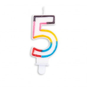 Number candle multicolor - nr. 5