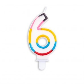 Number candle multicolor - nr. 6