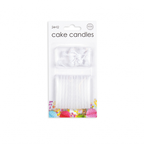 24 Cake candles + 12 holders, white