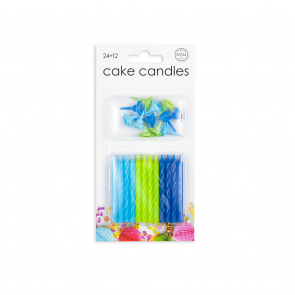 24 Cake candles + 12 holders, blue