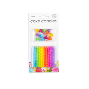 24 Cake candles + 12 holders, assorted colors