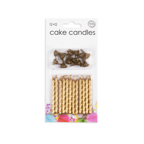 12 Cake candles + 12 holders, gold