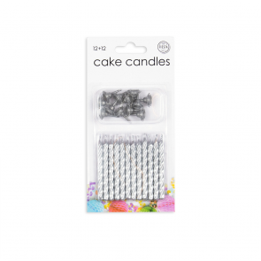12 Cake candles + 12 holders, silver