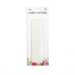24 Cake candles extra long, white