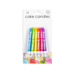 "12 Cake candles ""Happy Birthday"", assorted colors"
