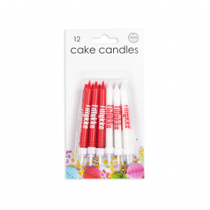 "12 Cake candles ""Tillykke"", red + white"