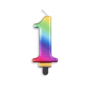 Number candle metallic, rainbow - nr. 1