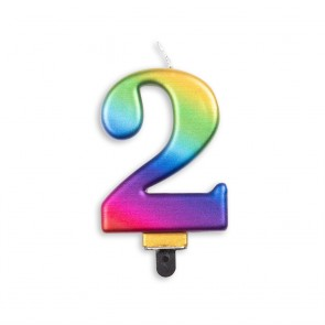 Number candle metallic, rainbow - nr. 2