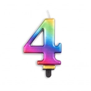 Number candle metallic, rainbow - nr. 4