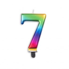 Number candle metallic, rainbow - nr. 7