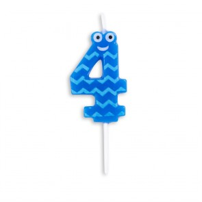 Number candle, Funny face, blue - nr. 4